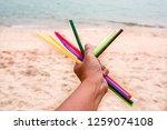 many plastic straws garbage... | Shutterstock . vector #1259074108