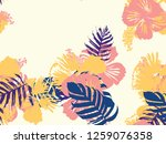 tropical background. green ... | Shutterstock .eps vector #1259076358