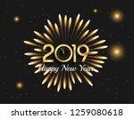 happy new year 2019. vector... | Shutterstock .eps vector #1259080618