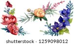 blue  red and orange bouquet....   Shutterstock . vector #1259098012