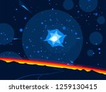 2d illustration. cartoon space... | Shutterstock . vector #1259130415