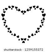 vector cute black hearts photo... | Shutterstock .eps vector #1259155372