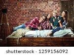 happy family having fun in the... | Shutterstock . vector #1259156092
