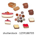set of desserts  raw cheesecake ... | Shutterstock .eps vector #1259188705