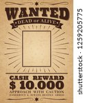 wanted vintage western poster.... | Shutterstock .eps vector #1259205775