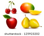 group of fresh colorful fruit.... | Shutterstock .eps vector #125923202