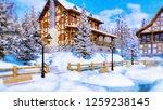 decorative winter landscape in... | Shutterstock . vector #1259238145
