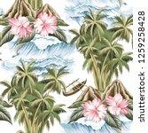 hawaiian vintage island  palm... | Shutterstock .eps vector #1259258428