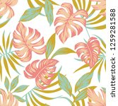 tropical pattern spring... | Shutterstock .eps vector #1259281588