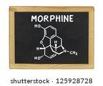 chemical formula of morphine on ... | Shutterstock . vector #125928728