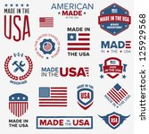 set of various made in the usa... | Shutterstock .eps vector #125929568