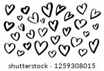 black hearts shapes silhouettes ... | Shutterstock .eps vector #1259308015