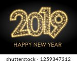 2019 happy new year greeting... | Shutterstock .eps vector #1259347312