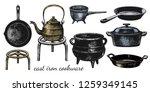 a set of varied cast iron... | Shutterstock .eps vector #1259349145