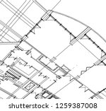 abstract architectural drawings | Shutterstock .eps vector #1259387008