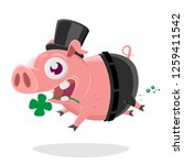 crazy pig in chimney sweep... | Shutterstock .eps vector #1259411542