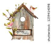 watercolor spring birdhouse... | Shutterstock . vector #1259414098