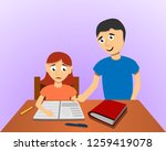 man help son homework concept... | Shutterstock .eps vector #1259419078