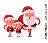 christmas santa claus and elves ... | Shutterstock .eps vector #1259511235