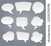 white paper cut speech bubbles... | Shutterstock .eps vector #1259529298