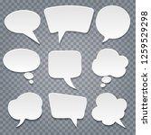 white paper cut speech bubbles... | Shutterstock .eps vector #1259529298