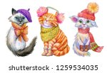 Watercolor Christmas Cats. Cute ...