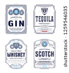 alcoholic drinks vintage thin... | Shutterstock .eps vector #1259546035
