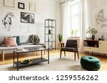 pouf next to armchair in living ... | Shutterstock . vector #1259556262