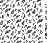 hand drawn evergreen branches... | Shutterstock .eps vector #1259580115