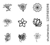 flower plant icon set. simple... | Shutterstock . vector #1259585098