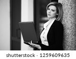 young business woman using... | Shutterstock . vector #1259609635
