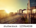 sunset in office buildings in... | Shutterstock . vector #125964038