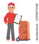 courier man in red uniform....   Shutterstock .eps vector #1259657638
