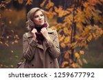 young fashion woman walking in... | Shutterstock . vector #1259677792