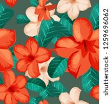 seamless floral pattern with... | Shutterstock .eps vector #1259696062