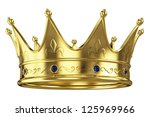 gold crown isolated on white... | Shutterstock . vector #125969966