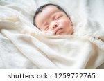 adorable infant kid sleeping on ... | Shutterstock . vector #1259722765