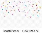 colorful confetti and ribbon... | Shutterstock .eps vector #1259726572