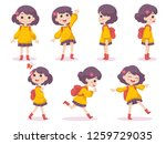 set of cute girl happy concept... | Shutterstock .eps vector #1259729035