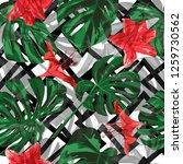 hawaiian flowers.  repeatable...   Shutterstock .eps vector #1259730562