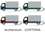 set of four shipping trucks on...