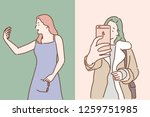 women taking a picture of... | Shutterstock .eps vector #1259751985