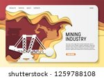 Mining industry landing page website template. Vector paper cut giant coal excavator, bulldozer. Extractive machinery and opencast mine.