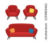chairs and a sofa on a white... | Shutterstock .eps vector #1259803462