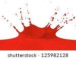 red paint splashing isolated on ... | Shutterstock . vector #125982128