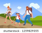 happy active family hiking in... | Shutterstock .eps vector #1259829355