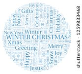 winter christmas word cloud. | Shutterstock . vector #1259833468