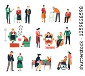 elderly people isolated icons... | Shutterstock .eps vector #1259838598