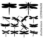 dragonfly silhouettes  insects  ... | Shutterstock .eps vector #1259844658