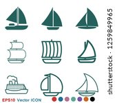 boat icon vector in trendy flat ...   Shutterstock .eps vector #1259849965